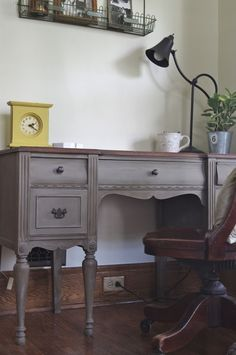 "Desk painted with Annie Sloan chalk paint ""French Linen"", and finished with dark wax."