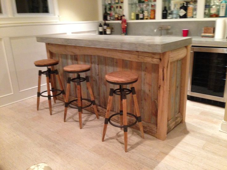 Reclaimed Wood Bar Top Made From 500lb Slab Of Concrete