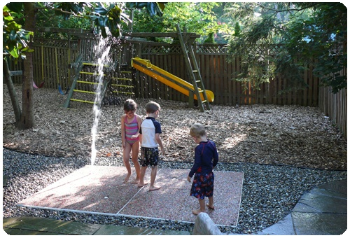 SplashGround (spraygrounds, water play features, splash zones) - the easy and affordable solution for anyone looking to bring the fun and excitement of a splash pad into their backyard, daycare or HOA. Our patent-pending system looks and operates just like a permanent system, but is both portable and modular for quick installs and equally quick removal should you move homes or wish to resell the unit once your kids outgrow it.