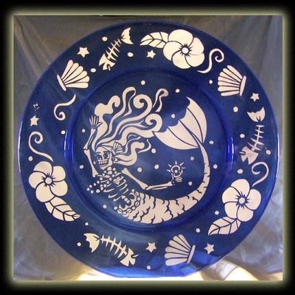 Day Of The Dead Art Skeleton Mermaid Large Blue Plate