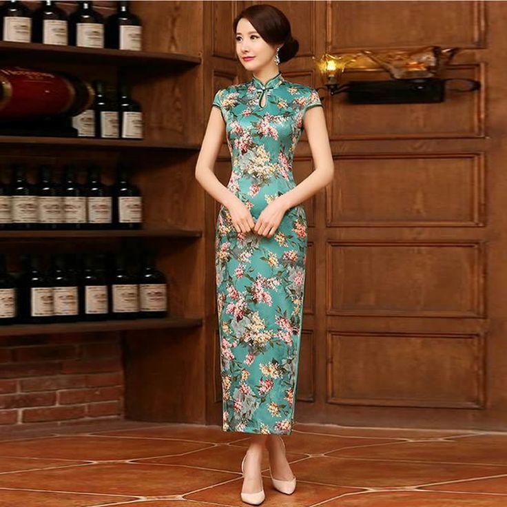 Green Long Silm Qipao Sexy Cheongsam Chinese Silk Dress Traditional Vestido De Festa Qi Pao Vestidos Orientais Vintage Robe