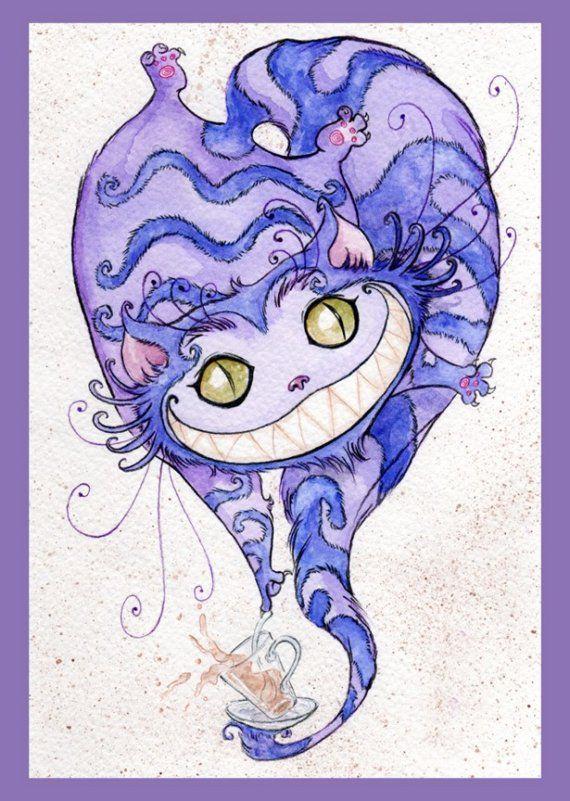 Cheshire Cat Teatime  Print by Tavisha on Etsy, $10.00