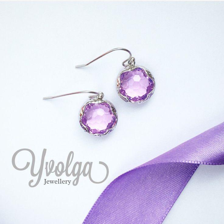 Round crystal earrings, purple glass earrings, rhodium plated earrings by Yvolga on Etsy https://www.etsy.com/listing/465033881/round-crystal-earrings-purple-glass
