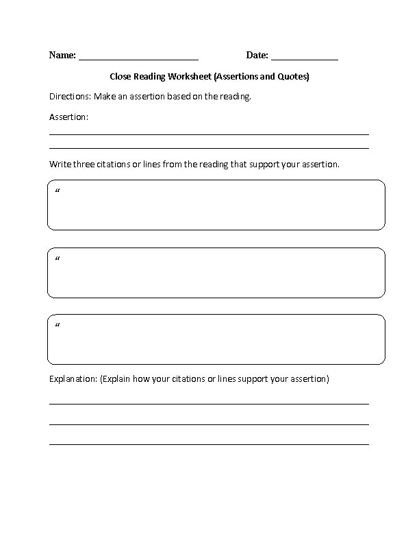 Close Reading Assertions and Quotes Reading Comprehension Worksheet Beginner or Intermediate