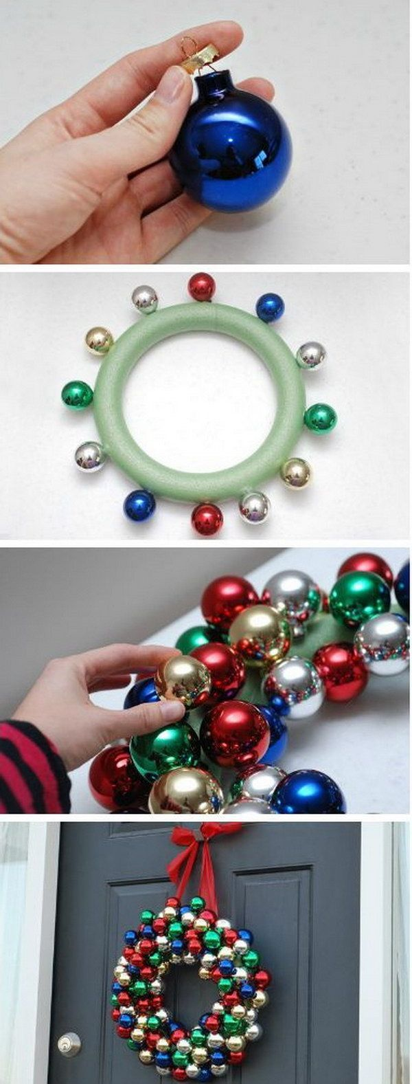 DIY Christmas Ornament Wreath. This holiday wreath is easy to make .. using the wires in the ornaments and perhaps hot glue to attach the ornaments securely.