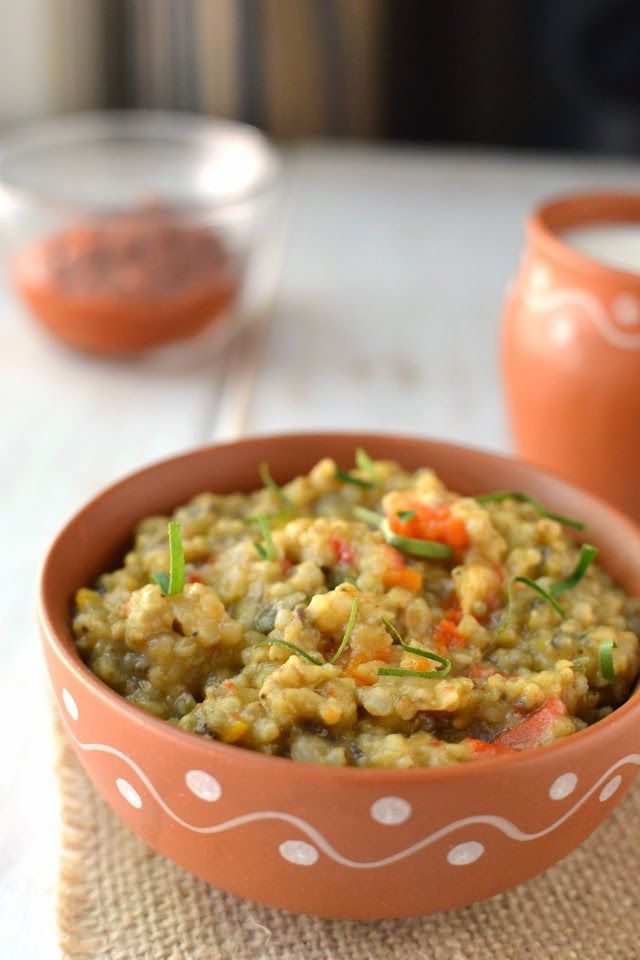 Pearl Millet Khichdi: Pearl Millet - ½cup Moong dal - ¼cup Mixed Vegetables - 1cup chopped (carrot, green beans, peas) Onion - 1 medium, chopped Turmeric - ¼tsp Cumin Seeds - 1tsp Salt - to taste