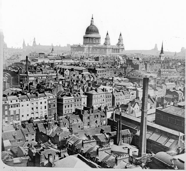 On the rooftops of London. (1860-1883) by National Library of Ireland on The Commons, via Flickr