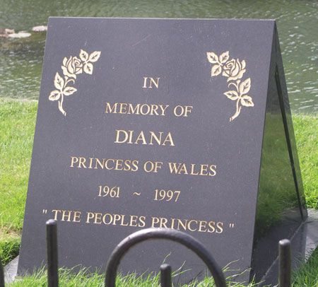 HRH The Princess Diana of Wales burial site photos | Princess Diana Memorial Garden