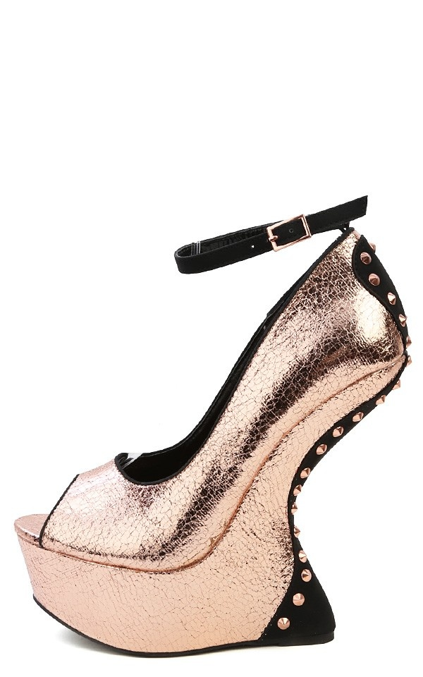 Liliana Tiba Crinkled Metallic Ankle Strap Studded Heel Less Wedges ROSE GOLD