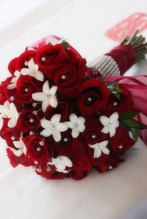 red wedding #christmas red #wedding #bridal bouquet