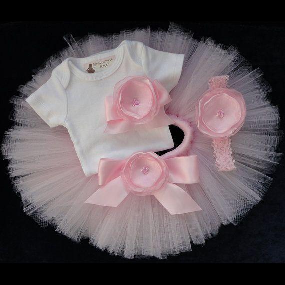 new born baby tutu   Pink Baby Newborn Tutu Dress Set by StrawberrieRose on Etsy, $68.95