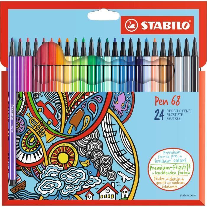 Stabilo Etui Carton De 24 Feutres De Coloriage Pen 68 Feutre Coloriage Zentangle