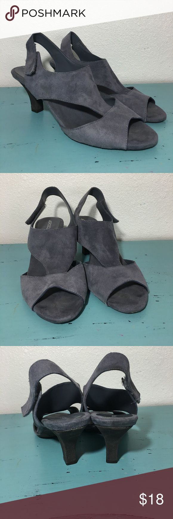 "Aerosoles gray suede heels with Velcro straps Heel is approx 2.75"" high. Velcro straps. Size 12m faximilian leather upper. . 🛒🛍 offers on bundles are considered AEROSOLES Shoes"