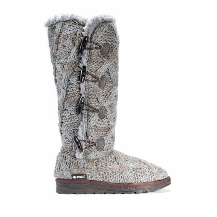 grey cable knit knee high sweater boot with a faux fur