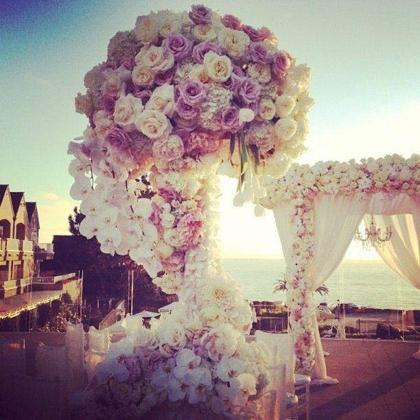 Outdoor wedding / White lilac / Flower wedding aisle / backdrop