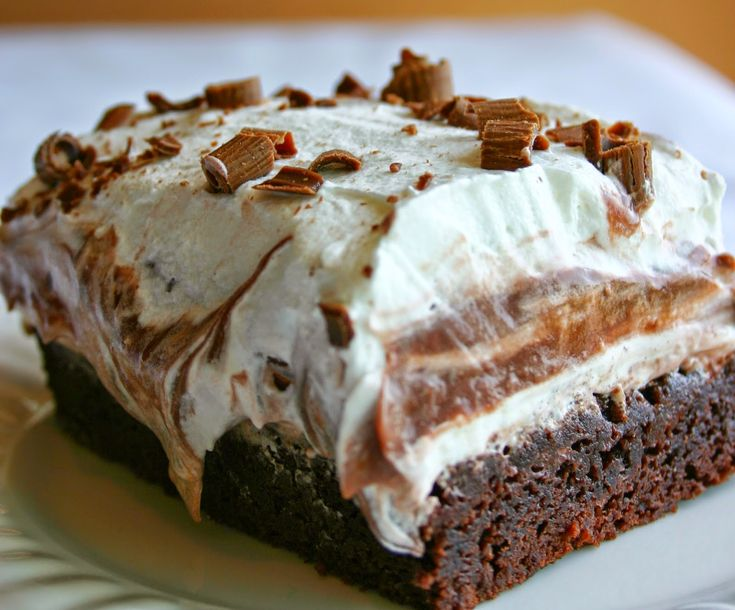 Brownie Refrigerator Cake ~ With layers of brownie, chocolate pudding, cream cheese, whipped topping, and fudge, this dessert is absolutely amazing.. It is so simple to make and is always a big hit! ,,