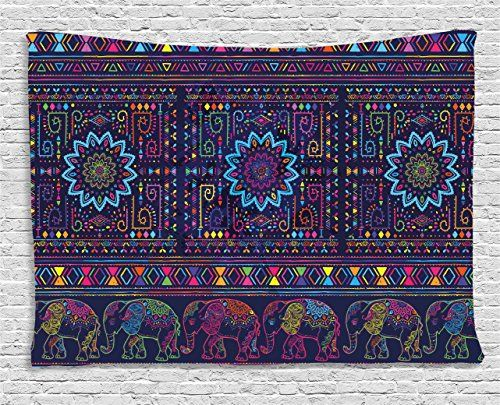 Psychedelic Tapestry by Ambesonne, Traditional Middle Eastern Moroccan Persian Baby Elephants Embellished Boho Print, Wall Hanging for Bedroom Living Room Dorm, 80WX60L Inches, Multi