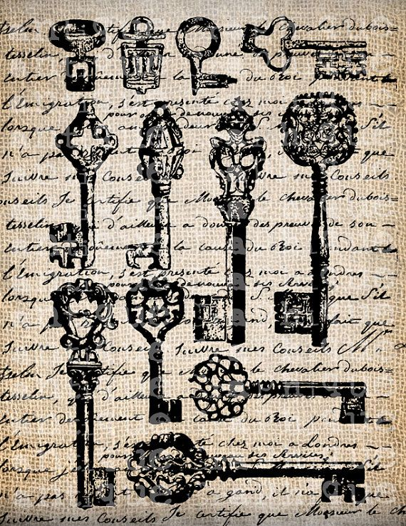 Antique Key Keys Skeleton French Handwriting Fancy Frame Digital Download for Papercrafts, Transfer, Pillows, etc. No 2989