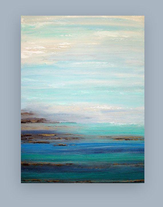 Abstracto azul marino y gris pintura Original por OraBirenbaumArt