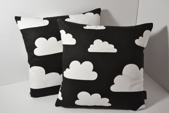 Scandinavian Swedish Farg & Form fabric Kids cushion cover - Black and White Monochrome Clouds