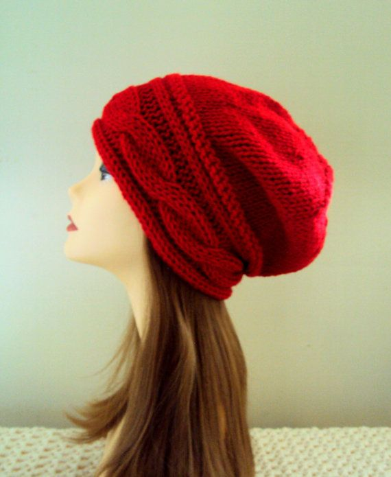 KNIT SLOUCHY HAT Women's Beanıe Red Christmas Hat Cabled Beanie Winter Hat Chunky Beanie Women Winter Accessories Gift Ideas Under 50 by GrahamsBazaar, $34.99--CUTE HAT