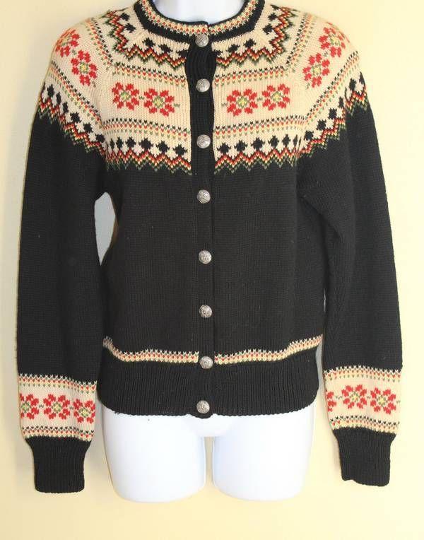 VINTAGE NORWEGIAN~ Sz S Nordic Folk Floral Wool Cardigan Sweater -BEAUTIFUL
