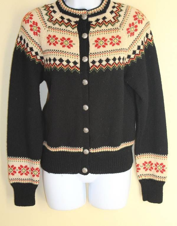VINTAGE NORWEGIAN~ Sz S Nordic Folk Floral Wool Cardigan Sweater -BEAUTIFUL