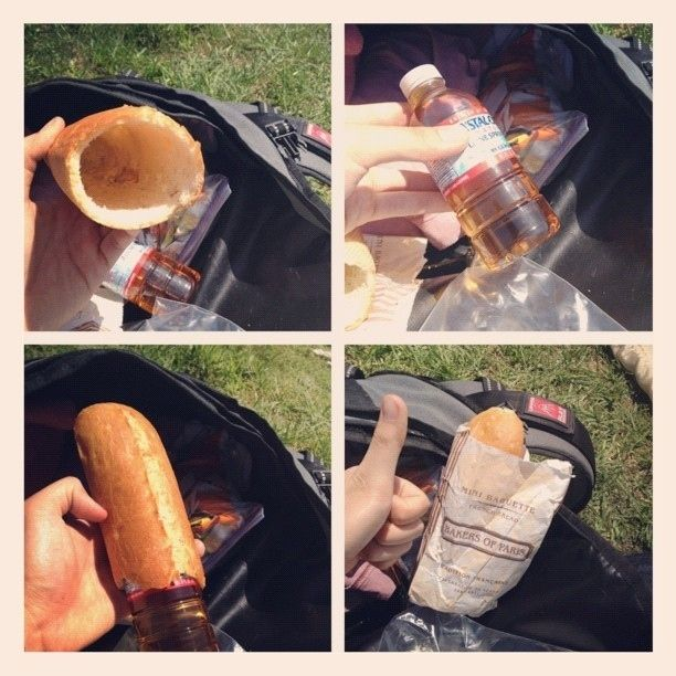 Sneak liquor into any festival or outdoor event in a hollowed-out baguette. I 36 Life Hacks Every College Student Should Know