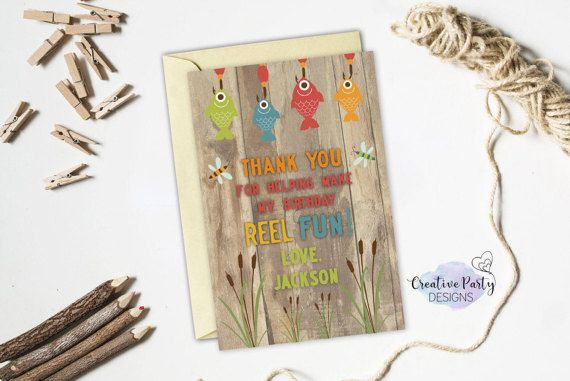 Fishing Birthday Thank You Note Fishing by CreativePartyDesigns