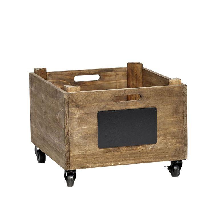 Hübsch / Dřevěná bedýnka s kolečky Box