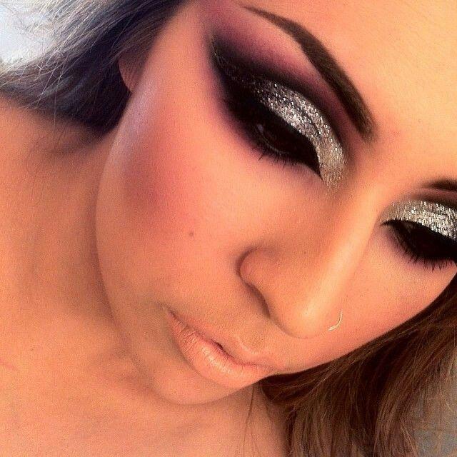 Dramatic Cut Crease Black Eyeshadow Heavy Silver Glitter Eye Makeup