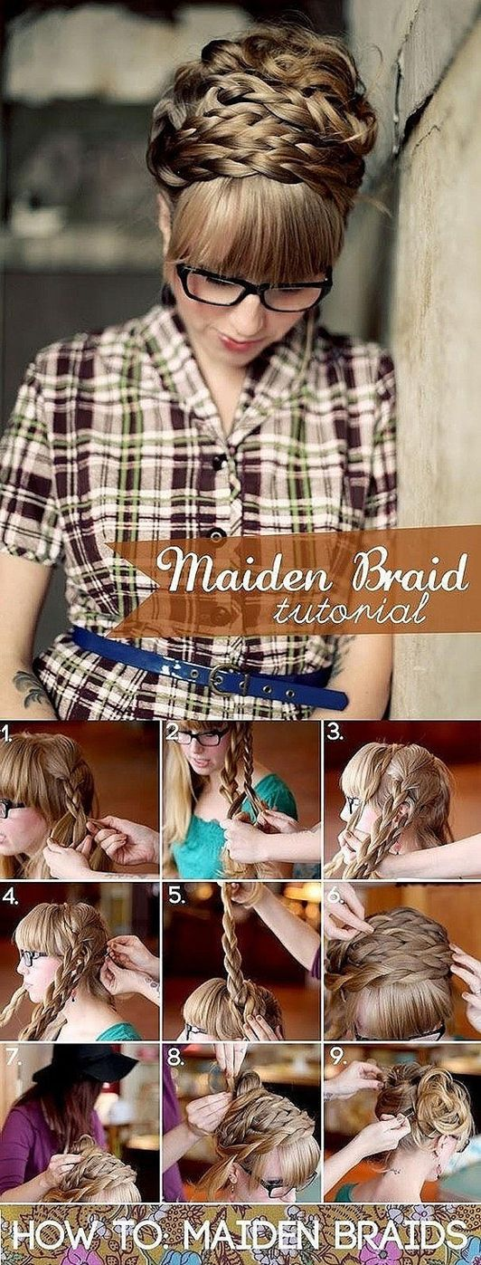 Long hair styles for women.  Maiden braid- looks difficult, I'd prolly have tons of messy pieces, but even so, its a good starting point... I wonder what my final result will look like