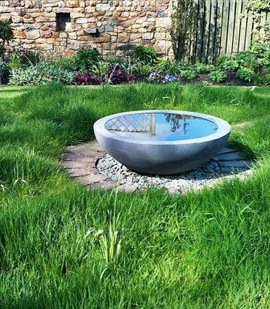Urbis Design   Contemporary Concrete Planters and Furniture - WHAT COULD BE MORE SIMPLE, YET SO BEAUTIFUL!! - A MAGNIFIQUE BOWL OF WATER, SITTING IN THE CENTRE OF THE LAWN!!