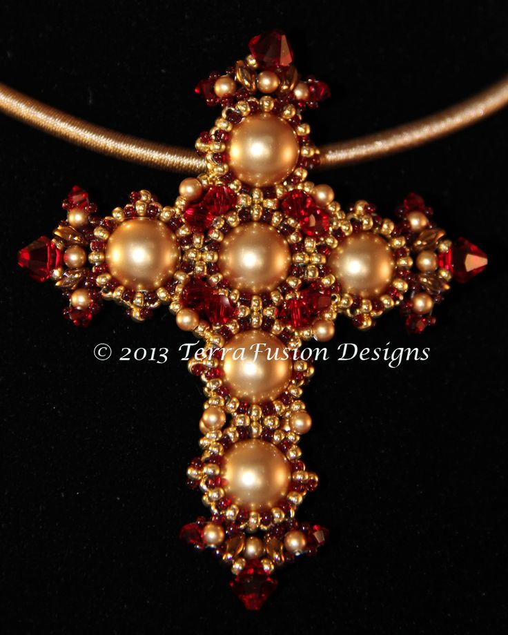 Siam Red St. Joan of Lorraine Cross Pendant from The Crosses of Byzantium Collection. Designed by Alisa Neal & Gwen Lane. Visit our Etsy Shop: thebeadnikdivas