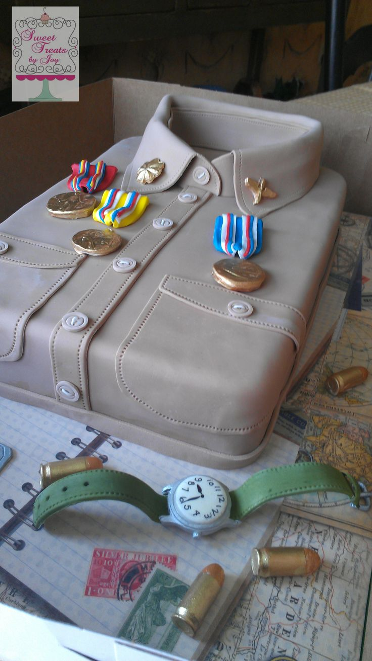 Uniform shirt and medals awarded to a wwii veteran cake for Army cake decoration