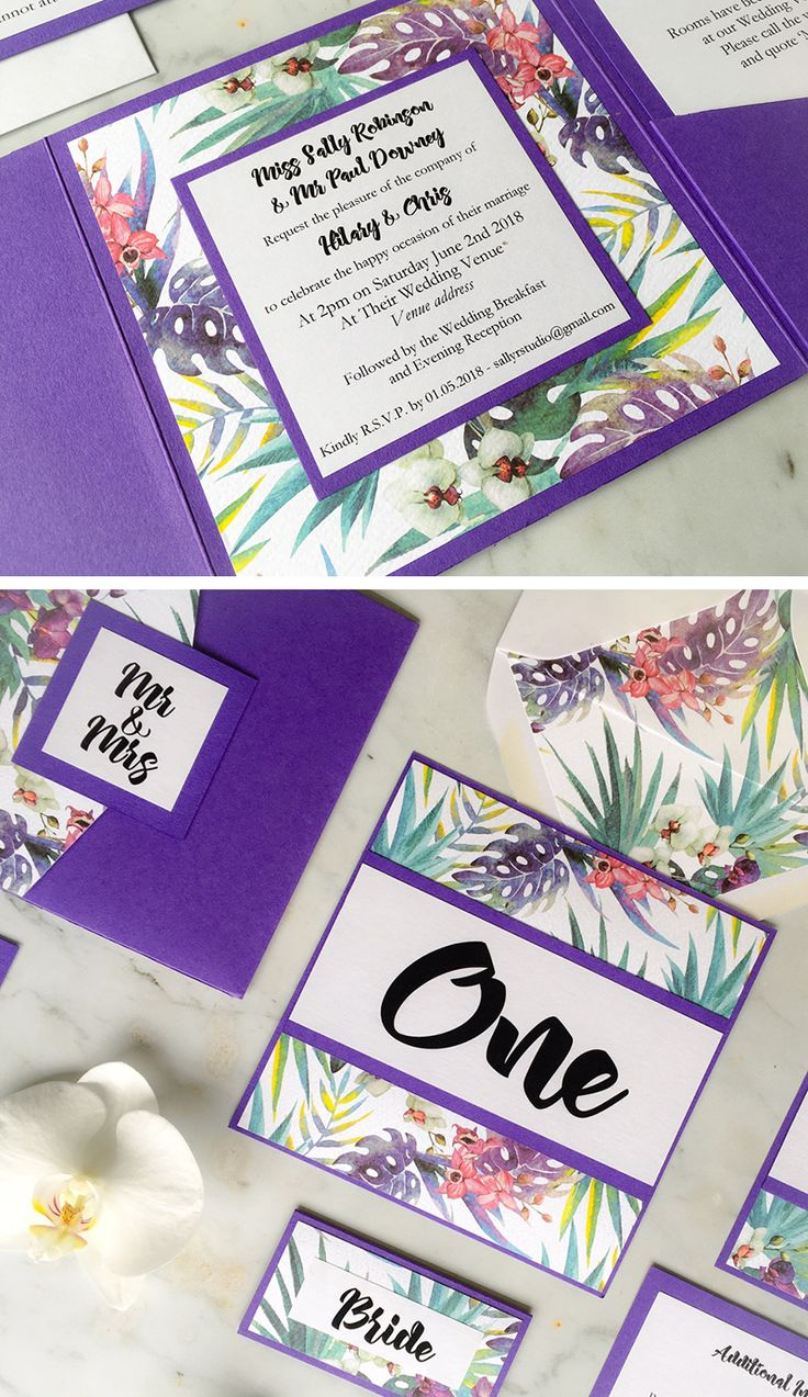 Tropical Wedding Stationery by Sally Rose Studios.  April Competition Winner at Imagine DIY.  #tropicalwedding #beachwedding #colourfulwedding #weddinginvitations