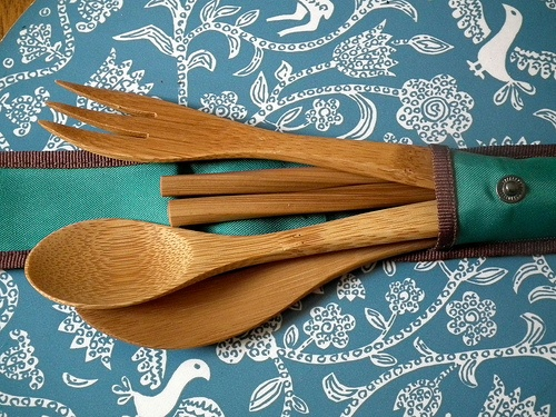 I keep a set of these To-Go Ware bamboo eating utensils in my purse. I can't even begin to tell you how often I use it. FOOD TRUCKS. Enough said. :)