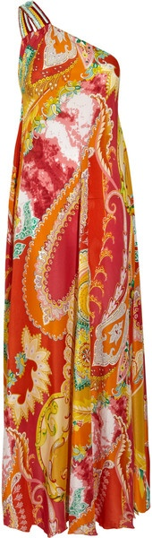 Emamo India Printed Silk Oneshoulder Dress