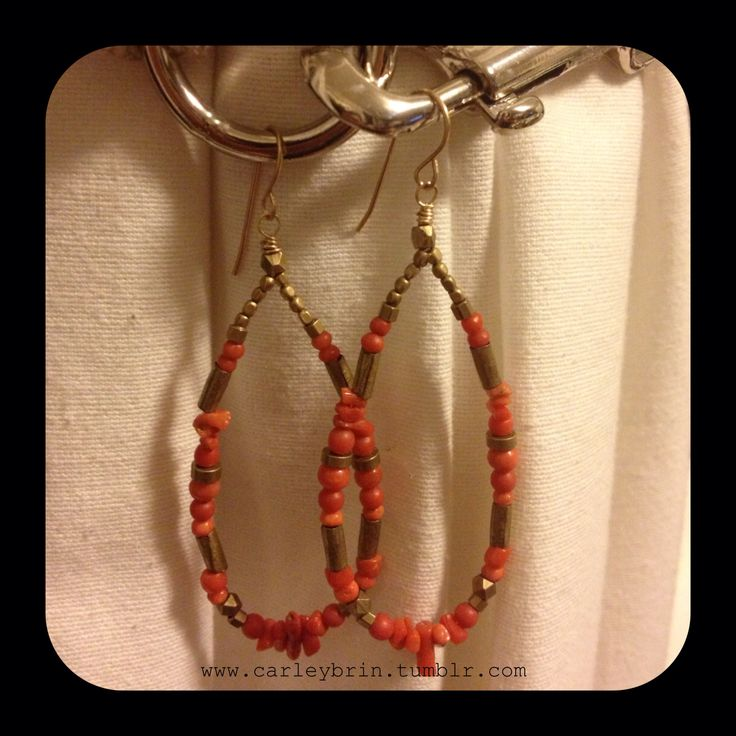 Brass + vintage coral on gold fill wire hoop earrings. Perfect for this warm summer!