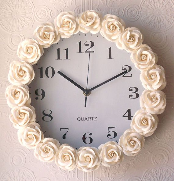 A Vintage Room Cream Rose Clock So easy to do with a cheap clock