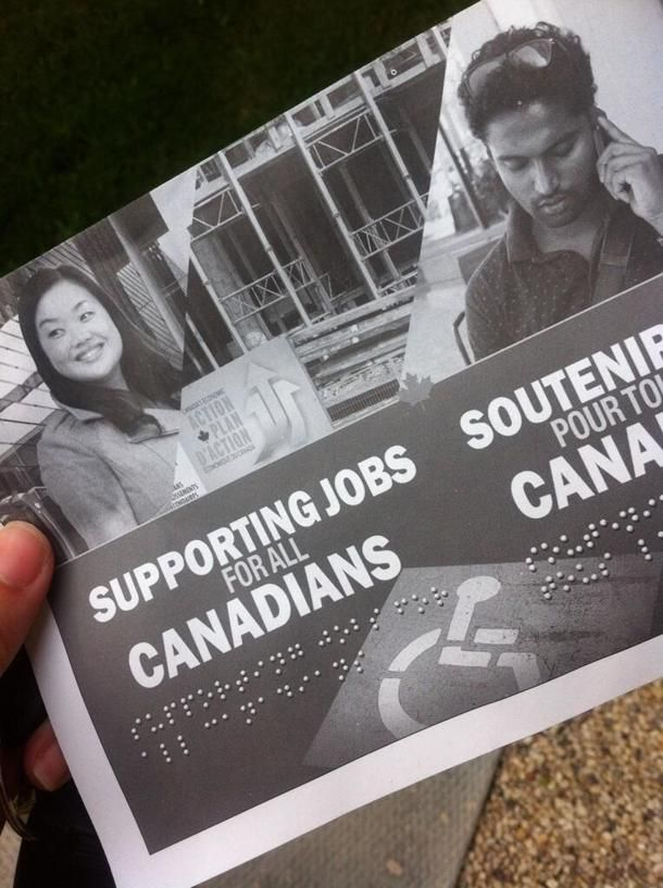 "Conservatives slammed for distributing flyer with ""fake Braille"""