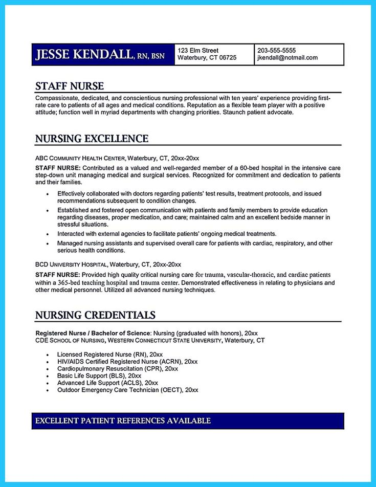 Example Resume Objectives For Nurses