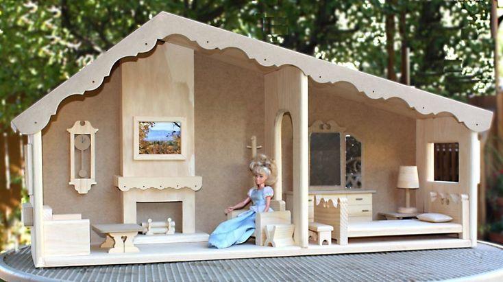 Barbie ® House & Furniture Woodworking Plan mit zwei Zimmern
