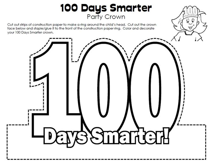 100th Day of School Crown.  Link:  http://www.superteacherworksheets.com/100th-day/100-days-crown_LAKSD.pdf