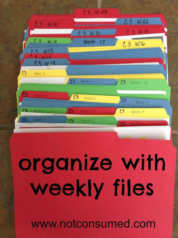 CC tutor:  each week has a folder. The folder is labeled with the week number and the cycle number. As the year progresses, I store worksheets and resource information for each week, both for my homeschool and for my CC class. After the week is over, I collect the materials and store them for next year. (You could easily punch holes and make this a binder with dividers, if desired.)