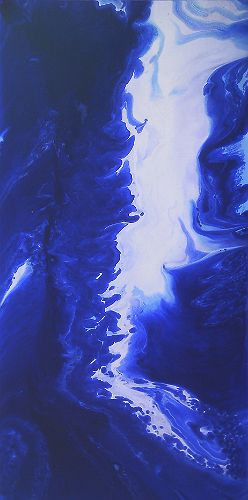 North by North East by David Munroe Fluid abstract painting inspired by the surface of the ocean. Deep blue and white painting on canvas.  http://www.davidmunroeart.com/north-by-north-east.html