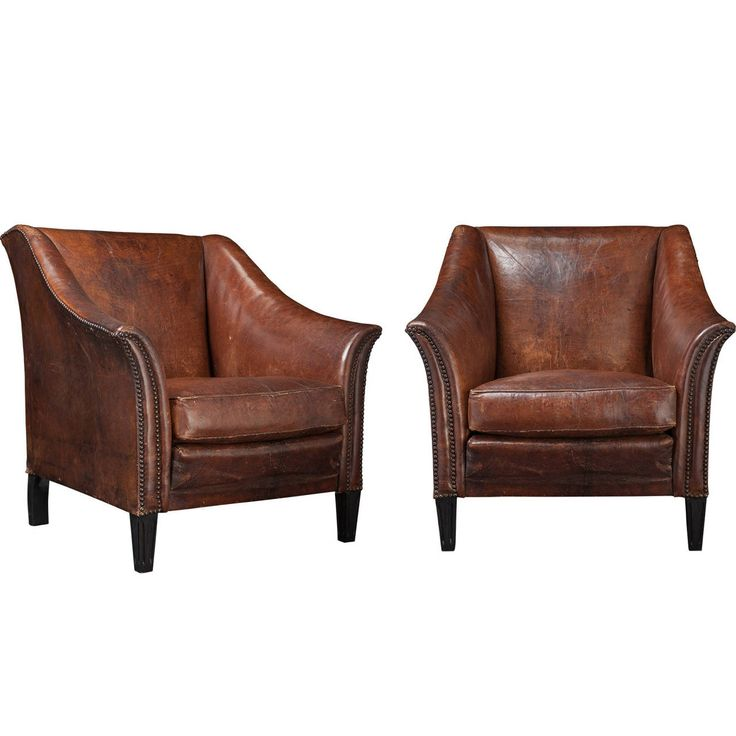 Pair of Leather Club Chairs | From a unique collection of antique and modern club chairs at https://www.1stdibs.com/furniture/seating/club-chairs/