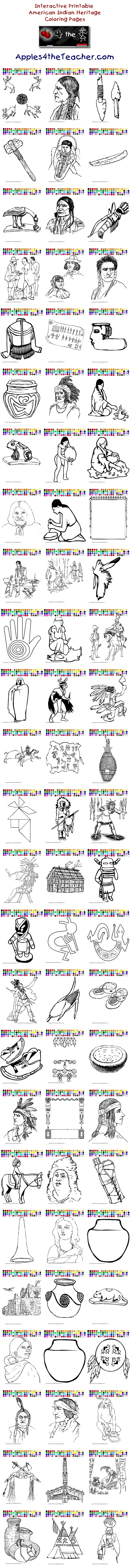 Apples4theteacher.com - Printable interactive American Indian Heritage Month coloring pages, American Indian Heritage Month coloring pages for kids  http://www.apples4theteacher.com/coloring-pages/native-americans/
