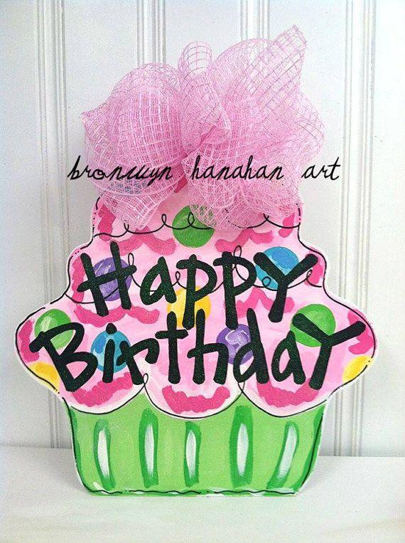 Happy Birthday Cupcake Door Hanger Bronwyn by BronwynHanahanArt, $50.00