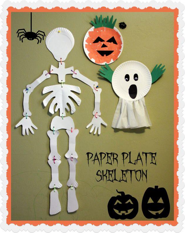 Easy Halloween paper plate skeleton craft for preschool kids